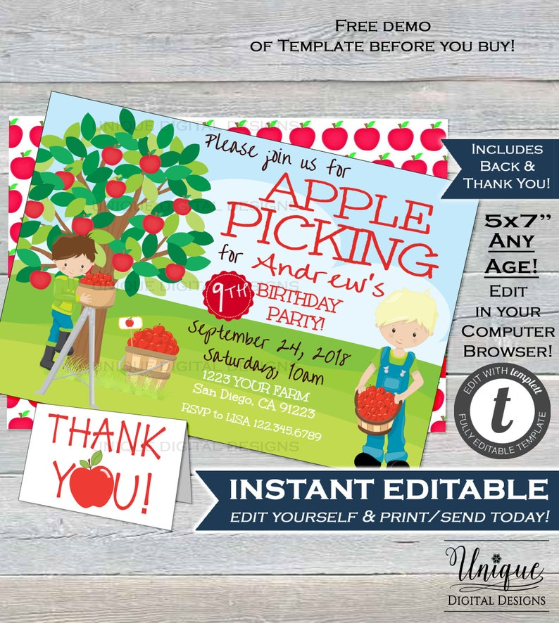 Fall Apple Picking Birthday Invitation Editable Farm