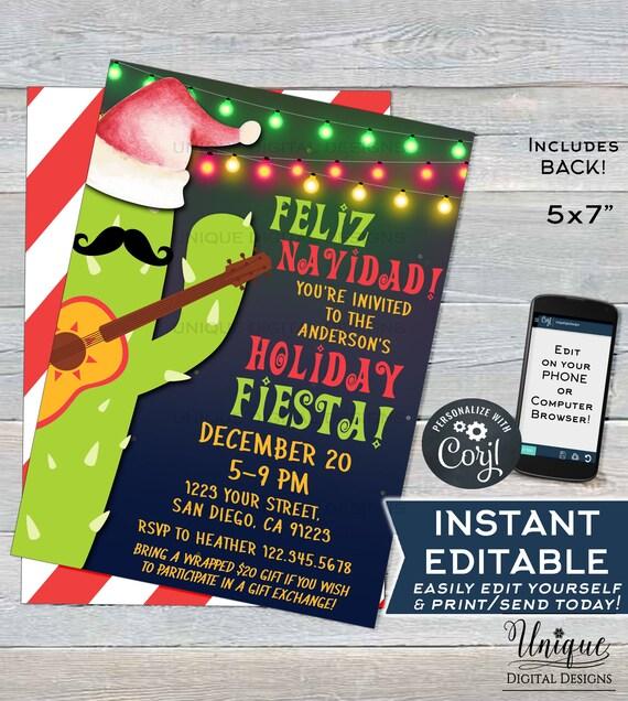 Editable Feliz Navidad Invitation Holiday Fiesta Invitation Mexican Christmas Taco Bout A Party Printable Template Instant Access 5x7