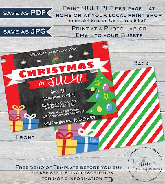 Christmas In July Invitations Free.Christmas In July Invitations Editable July Summer Party Invite Summer Christmas Party Xmas Personalized Custom Printable Instant Download
