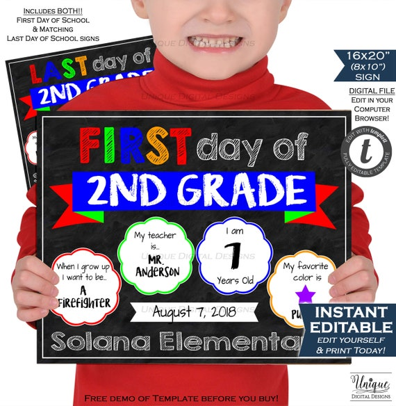 first day of school 2 in 1 chalkboard last day of school sign etsy