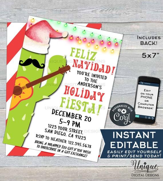 Feliz Navidad Invitation Editable Holiday Fiesta Invitation Mexican Christmas Taco Bout A Party Printable Template Instant Access 5x7