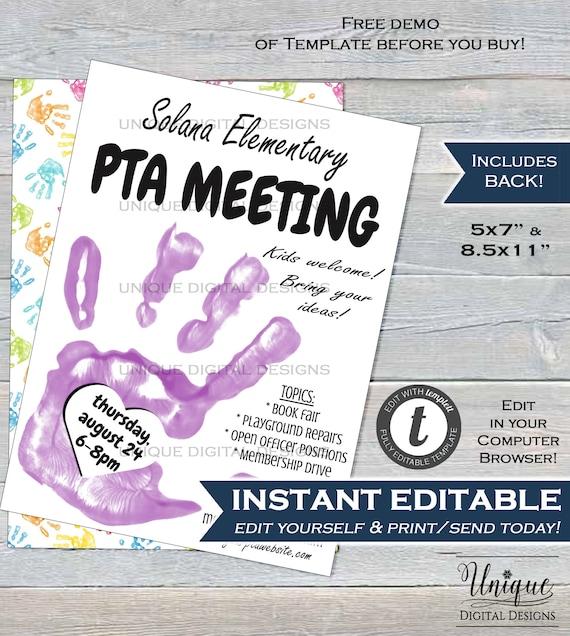 Editable Pta Meeting Invitation Parent Teacher Invite Pto Etsy