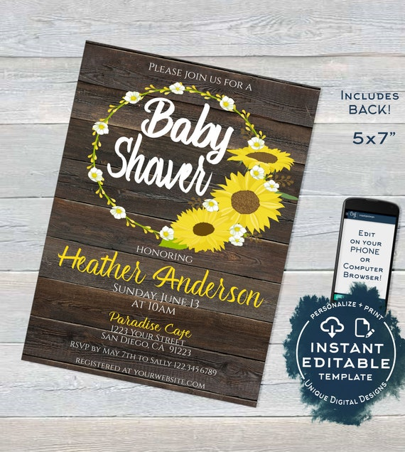 Sunflower Baby Shower Invitation Editable Rustic Sunflower Invite Rustic Baby Girl Boy Sunflower Theme Printable Custom Instant Download