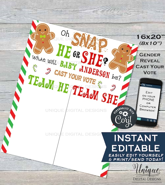 Christmas Gender Reveal Theme.Christmas Gender Reveal Sign Editable Gingerbread Theme Board Oh Snap He Or She What Will Baby Be Cast Your Vote Sign Instant Download