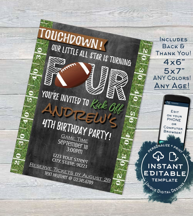 Football Birthday Invitation 4th Invite Touchdown
