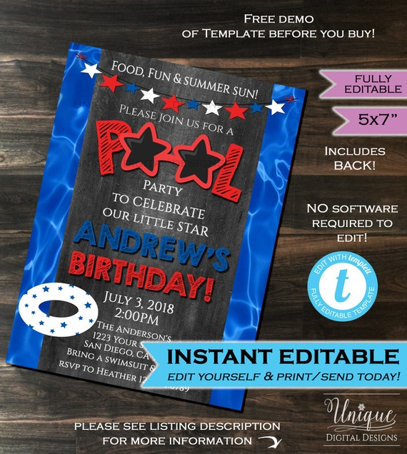 pool party invitation summer star sunglasses red white blue etsy