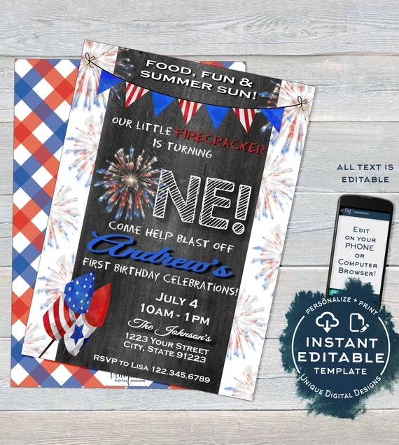 One Firecracker Birthday Invitation Editable 4th Of July First Birthday Invite 1st Firework Chalkboard Template Printable Instant Access