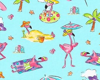 Flamingo Fabric in Aqua - Flamingos on the Beach - 100% COTTON Fabric, Quilting Fabric- Mary Jane Mitchell from Flamingo Beach CC22b