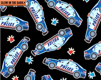 Glow In The Dark Police Cars All Over On Yellow Cotton Fabric Priced By The HALF Yard From KANVAS NEW