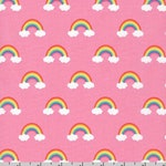 Pink Rainbow Cotton Fabric by the Yard, 100% Cotton Fabric, Happy Little Unicorn, Baby Fabric, Quilting Fabric, Apparel Fabric, Girl Fabric