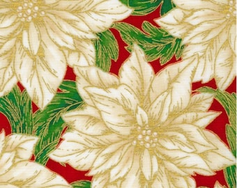 Poinsettia Christmas Fabric from Holiday Flourish 14 - COTTON Quilting Fabric with Gold Metallic Accents, (Choose Your Cut Size) D30