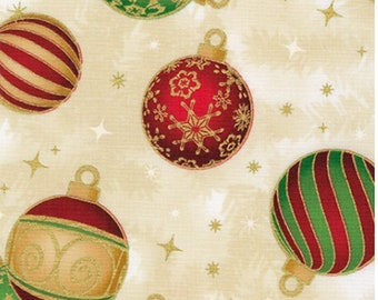 Holiday Ornaments Fabric from Holiday Flourish 14 - 100% COTTON Quilting Fabric with Gold Metallic Accents, D30 (Choose Your Cut Size)