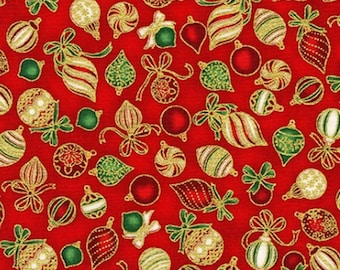 Red and Gold Ornaments Fabric from Holiday Charms - 100% COTTON Quilting Fabric with Gold Metallic Accents, D30 (Choose Your Cut Size)