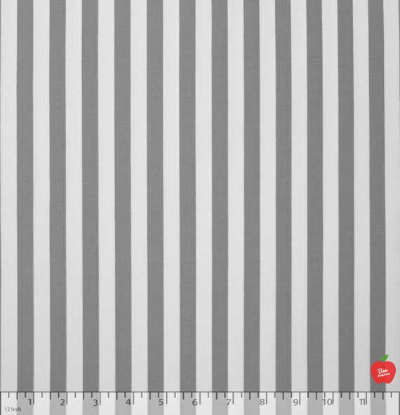 12 Gray Striped 100 Cotton Fabric By The Yard Striped Etsy