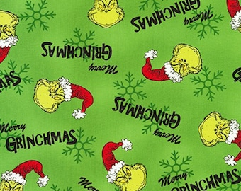 The Grinch Fabric (Green) - How the Grinch Stole Christmas from Dr Seuss Enterprises - Holiday Fabric - 100% COTTON Quilt Fabric C19