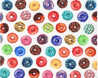 Sweet Donuts from Sweet Tooth (Small)- 100% Quilting Cotton Fabric - Robert Kaufman Fabrics - Apron Fabric, Food Fabric, Choose Your Cut C19