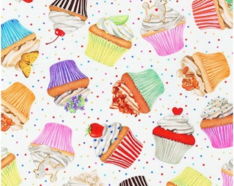 Cupcake Toss from Sweet Tooth Collection By Mary Lake-Thompson (Large)- 100% COTTON Fabric, Quilting and Apparel Fabric, Premium Cotton C19