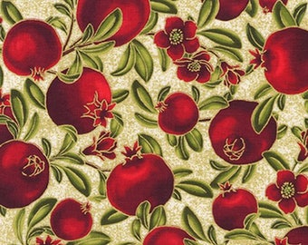 Pomegranate Fabric - Bounty of the Season - Robert Kaufman - COTTON Quilting Fabric, Elegant Autumn Fabric with Gold Metallic Accents D30