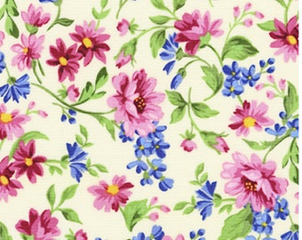 Sunshine Floral Fabric - Pretty Sweet from Flowerhouse by Robert Kaufman - COTTON Quilting Fabric and Apparel Fabric D30