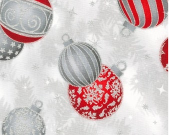 Red and Silver  Ornaments Fabric from Holiday Flourish 14 - 100% COTTON Quilting Fabric with Silver Metallic Accents, D30