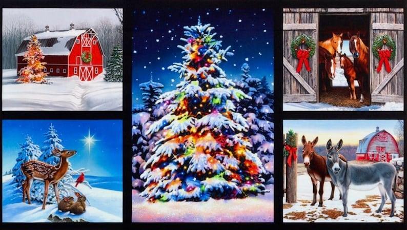Christmas Fabric Panels , 100% COTTON Fabric, Christmas Panels, Christmas  Quilt Panels, Xmas Fabric, Quilt Panels, Christmas Tree Fabric,