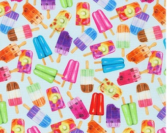 Small Popsicles - Blueberry from Sweet Tooth Collection By Mary Lake-Thompson - COTTON Quilting Fabric, Mask Fabric, Premium Cotton C18