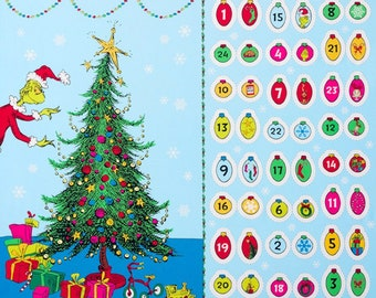 """Grinch Advent Calendar - Dr. Seuss Enterprises from How the Grinch Stole Christmas (PANEL) 24""""x44"""" - 100% COTTON Fabric, Quilting Fabric C18"""