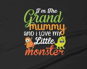 Funny Grandma Halloween Women's short sleeve t-shirt, I'm The Grand Mummy And I Love My Little Monsters T-Shirt