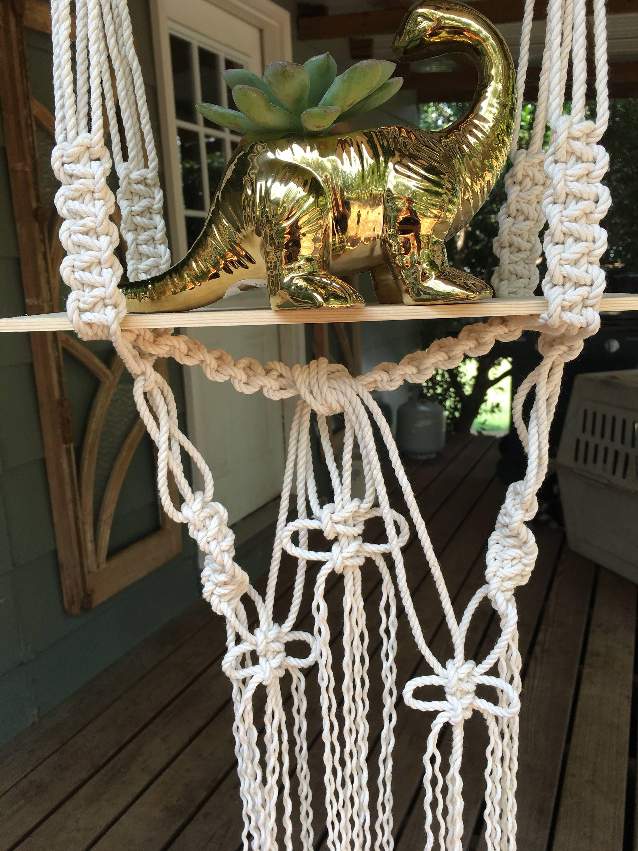 Boho hanging macrame shelf