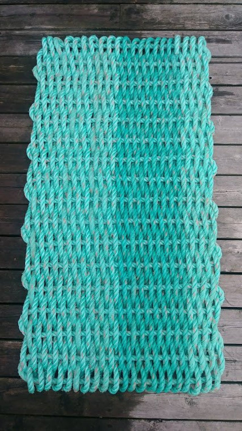 Recycled Reclaimed Gulf of Maine Lobster Rope Mat Handwoven Unique Gift  Doormat 20x40