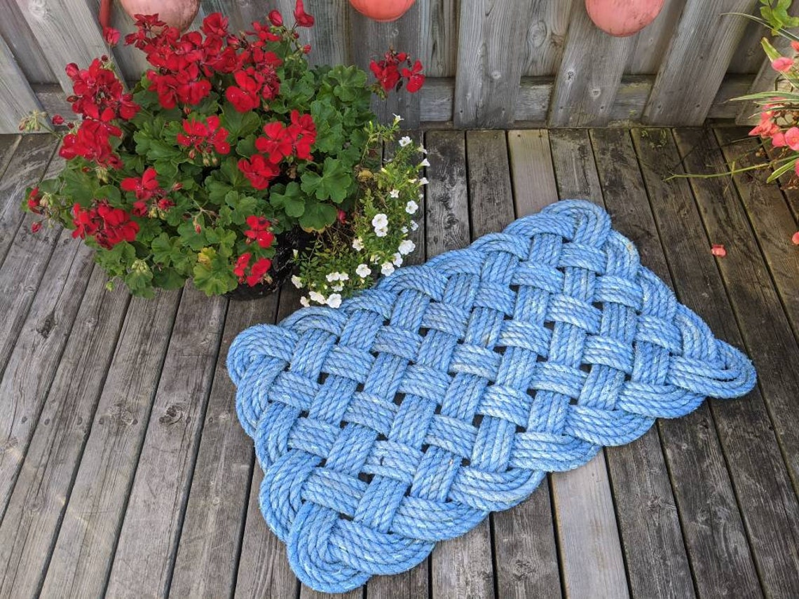 Lobster Rope CUrchin Knot Rope Doormat Lobster Rope Knotted Doormat
