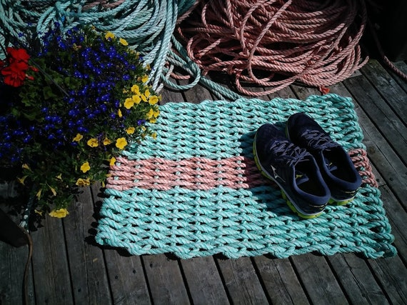 Unique Doormat Recycled Gulf of Maine Lobster Rope Mat Handwoven Unique