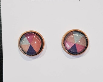 12mm Pink, White and Navy Rose Gold Cabachon Earrings