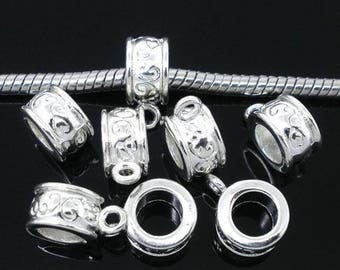 10 bails clear carved clear silver-tone charm