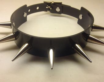 Black PVC Spiked Collar