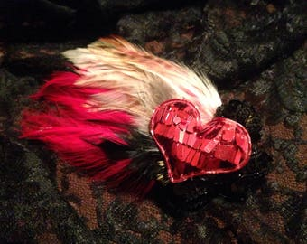 Red Heart Sequin Feathered Hair Clip