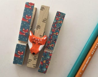 Clothepins decoration for child's bedroom : fox
