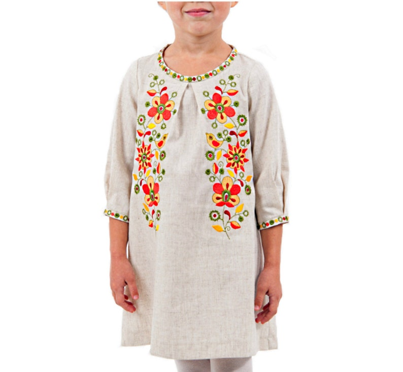 Mexican Embroidered White Puebla Size 8 Grey girl/'s dress with bright floral embroidery Ethno style folk style cotton Baby Girl Gift idea
