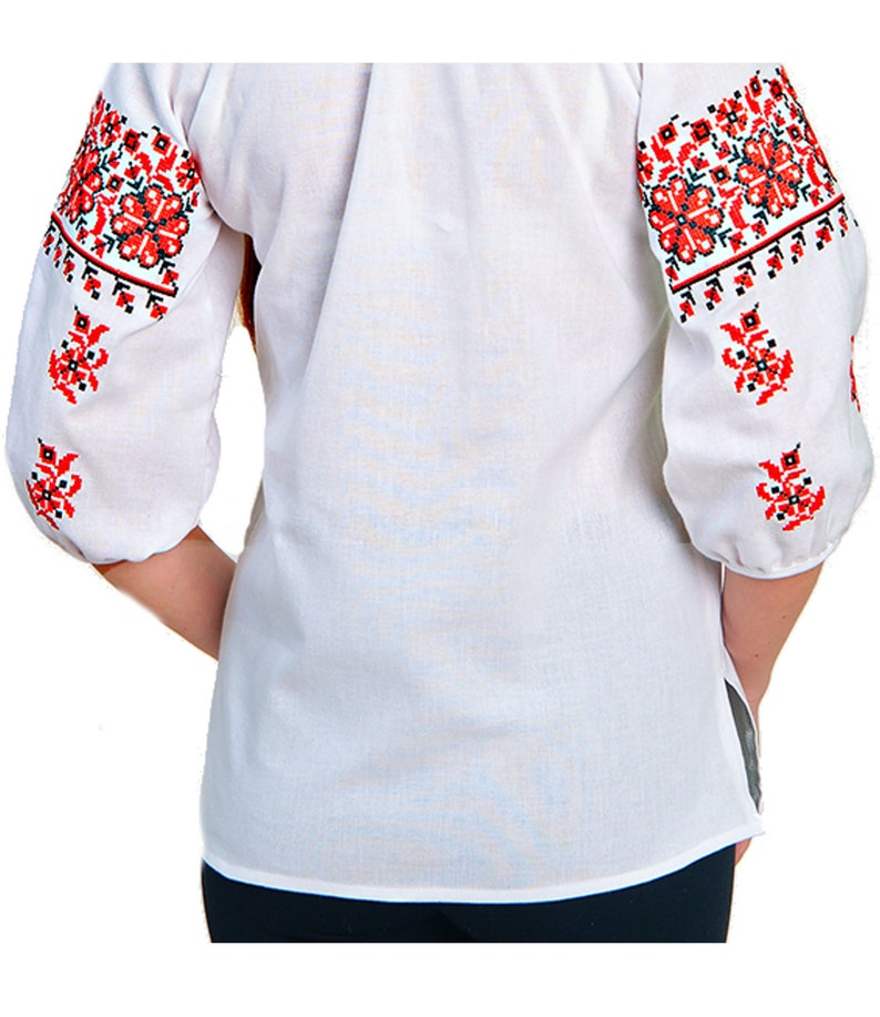 Women/'s blouse Boho White blouse Shirt nature vintage Vyshivanka white red embroidery White cotton Shirt Plus Size Top.Floral pattern