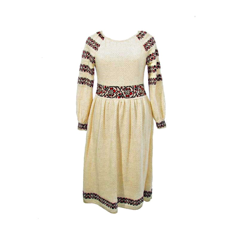 Day Dress Casual Loose dress Long Sleeves Custom-made white Dress Floral ornament Linen Cotton Midi Dresses Botanical dress Cute Floral