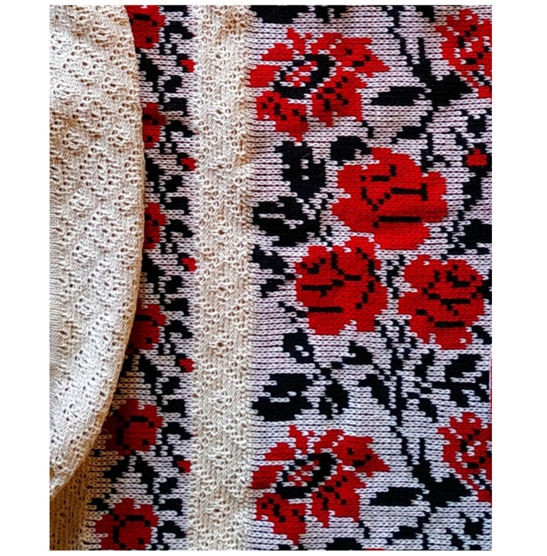 Knitted Dress Linen Dress Folk Rustic Reenactment clothing White embroidered Dress Dresses for women Mom Gift Red roses embroidery