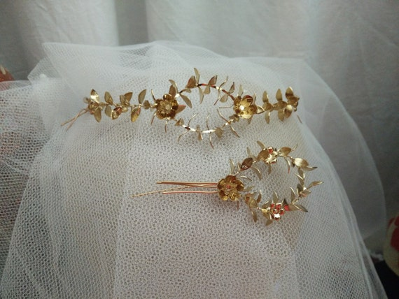 Vintage german myrtle Tiara, golden wedding crown,