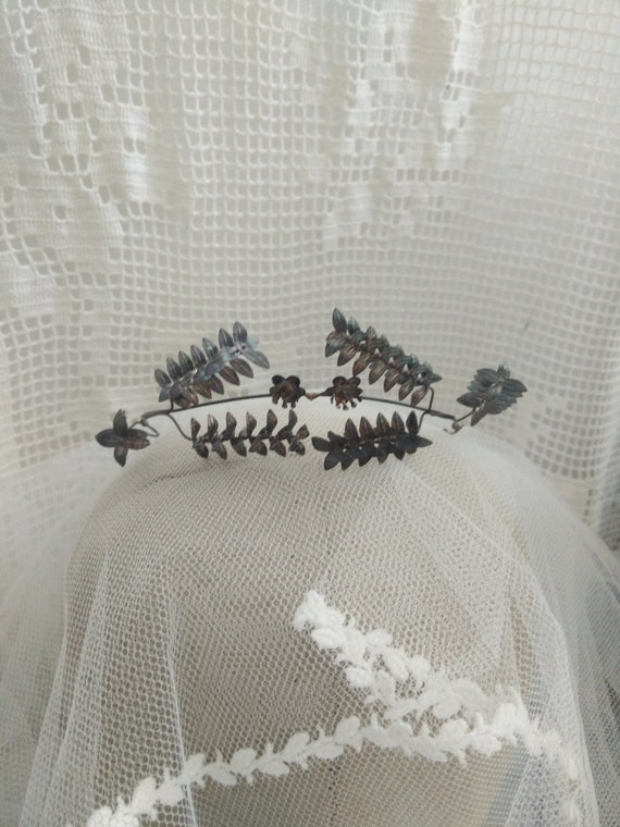 Black, 800 silver german myrtle Tiara, wedding Tia