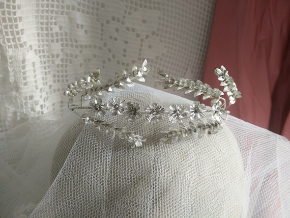 German silver myrtle crown, myrtle Tiara, wedding