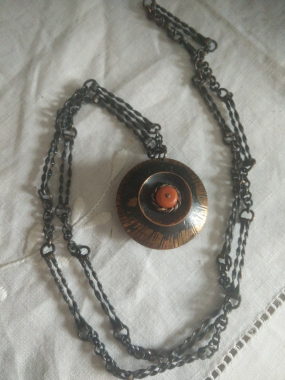 1970s vintage brutalist copper 2 tone necklace