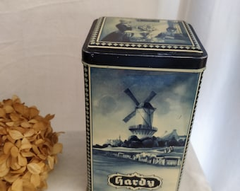 Hardy cocoa tin, blue and White Delft Style tin, netherlands, windmill, durch folk dress