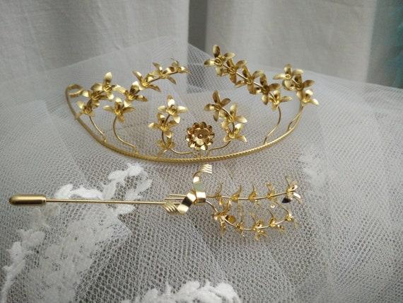 Vintage german myrtle Tiara, golden wedding crown,