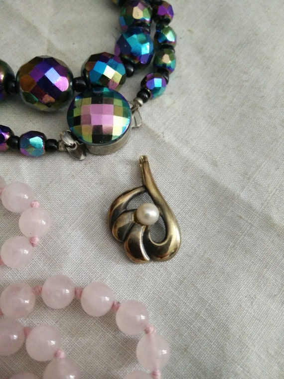 Vintage 333 gold and pearl pendant, 8k pendant, te
