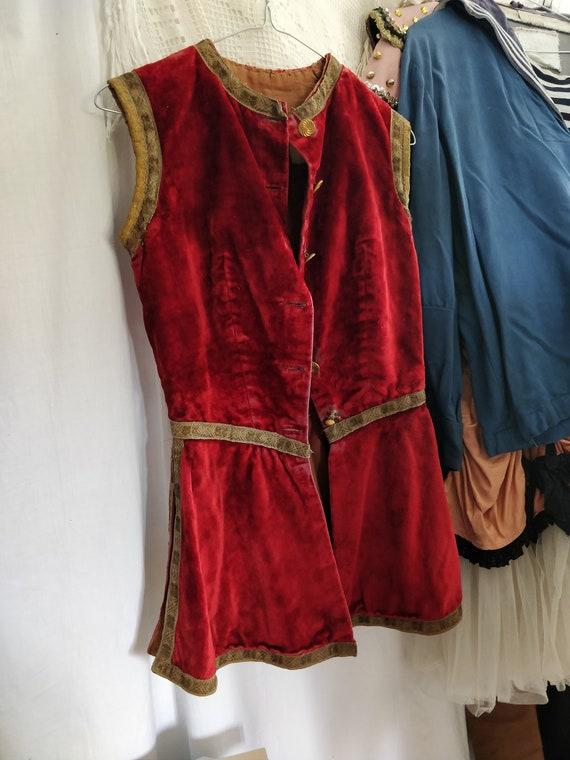 Antique dark red velvet vest, antique Theater cost