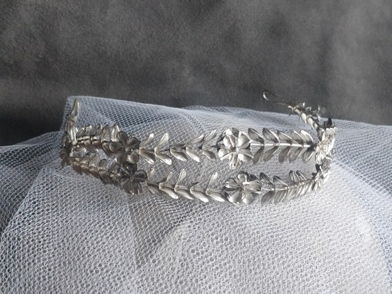 German silver myrtle crown, myrtle Tiara, wedding